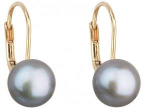 Zlaté náušnice visací s šedou říční perlou 921009.3