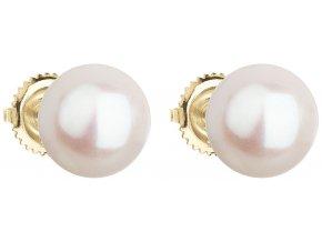 Zlaté náušnice pecky s bílou říční perlou 921005.1
