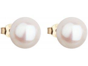 Zlaté náušnice pecky s bílou říční perlou 921043.1