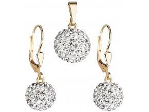 Zlatá sada šperků s krystaly Swarovski bílá 939072.1