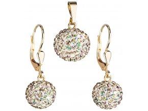 Zlatá sada šperků s krystaly Swarovski 939072.6 luminous green