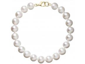 Perlový náramek bílý z pravých říčních perel se zlatým zapínáním 923003.1