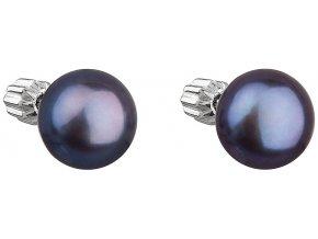 Stříbrné náušnice s modrou říční perlou 21004.3