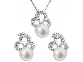Stříbrná perlová souprava 29010.1 - bílá
