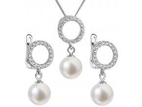 Stříbrná perlová souprava 29013.1 - bílá