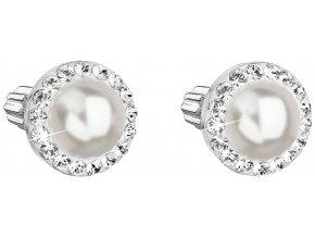 Stříbrné náušnice s krystaly Swarovski a bílou perlou 31314.1