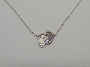 Zlatý náhrdelník bílý dětské nožičky (3)
