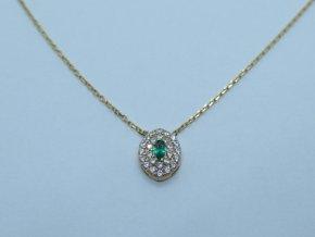 Zlatý náhrdelník se zeleným kamínkem žlutý (2)