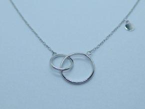 Zlatý náhrdelník s kroužky bílý (2)