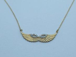 Zlatý náhrdelník andělská křídla žlutý (2)