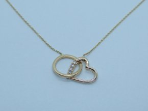 Zlatý náhrdelník - kamínkové srdíčko s kroužkem - žlutý