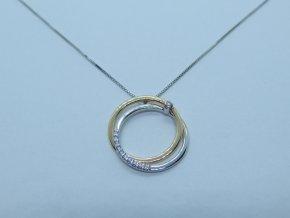 Zlatý náhrdelník kolečka s brilianty bílý (1)