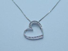 Zlatý náhrdelník srdíčko s brilianty bílý (1)