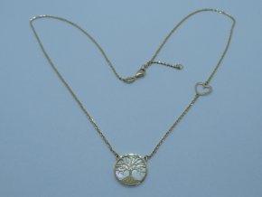 Zlatý náhrdelník strom života s perletí žlutý (1)