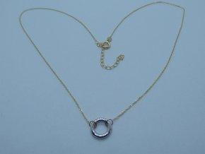 Zlatý náhrdelník s bílým kolečkem žlutý (3)