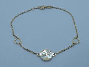 Zlatý náramek strom života s perletí žlutý (1)