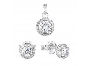 Sada šperků se zirkonem náušnice a přívěsek bílé kulaté 19026.1