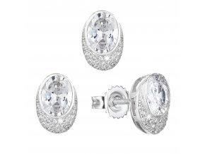 Sada šperků se zirkonem náušnice a přívěsek bílý ovál 19022.1