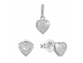 Sada šperků se zirkonem náušnice a přívěsek bílé srdce 19027.1