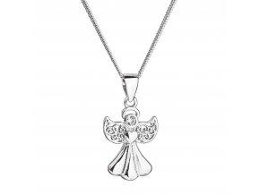 Náhrdelník anděl se Swarovski krystaly bílý 32077.1