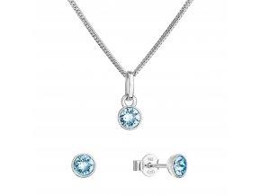 Sada šperků s krystaly Swarovski náušnice, řetízek a přívěsek modré 39177.3 aqua