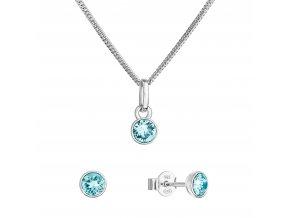 Sada šperků s krystaly Swarovski náušnice, řetízek a přívěsek modré 39177.3 lt. turquoise