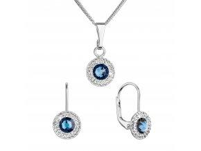 Sada šperků s krystaly Swarovski náušnice a přívěsek tmavě modré kulaté 39109.3 montana