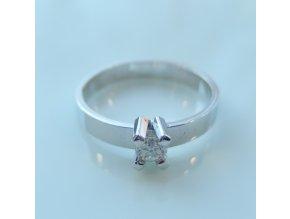 Zlatý prsten - bílý s briliantem