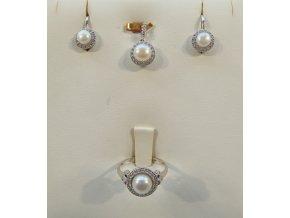 Zlatá souprava - bílá s perlami