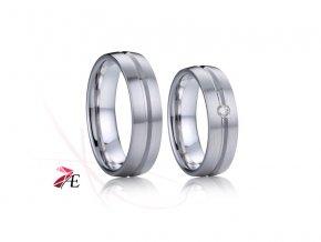Stříbrné snubní prsteny s briliantem - 033 925AG