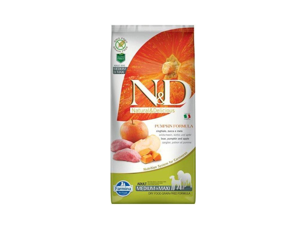 N&D GF Pumpkin DOG Adult M/L Boar & Apple 12kg