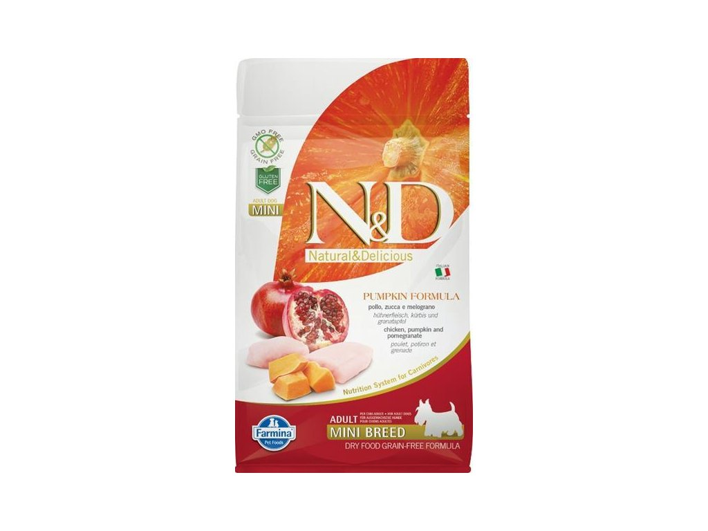 N&D Grain Free Dog Adult Mini Pumpkin Chick & Pom 800 g
