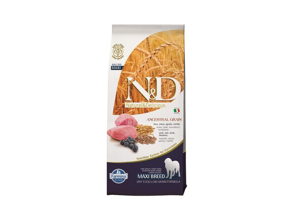 N&D Low Grain Dog Adult Maxi Lamb & Blueberry 12 kg