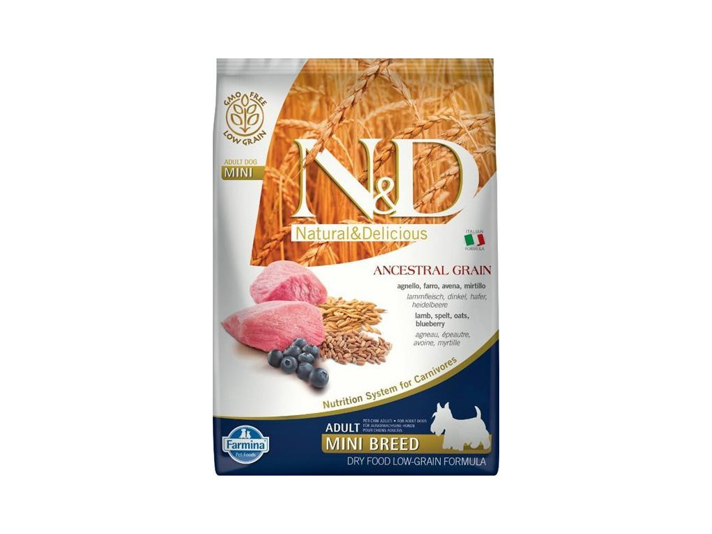 N&D Low Grain Dog Adult Mini Lamb & Blueberry 7 kg
