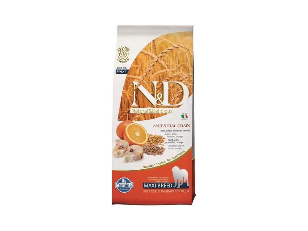 N&D Low Grain Dog Adult Maxi Codfish & Orange 12 kg