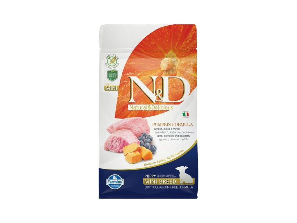 N&D GF Pumpkin DOG Puppy Mini Lamb & Blueberry 800g