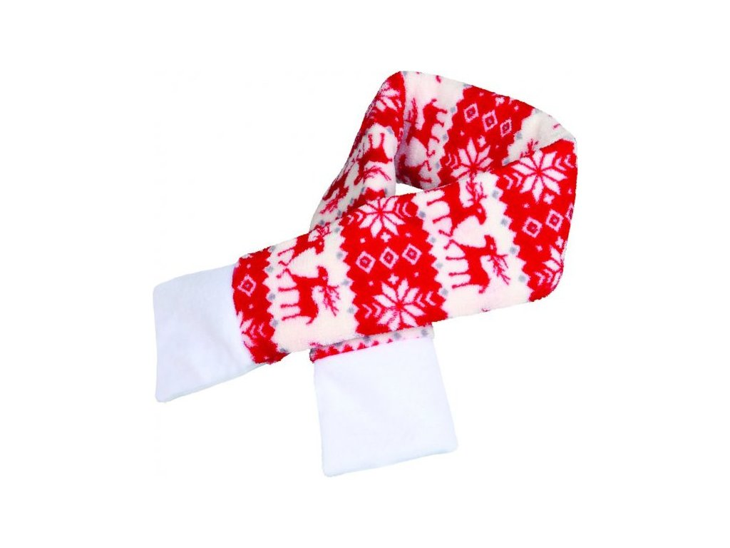 Vánoční šála M 70cm červená se soby