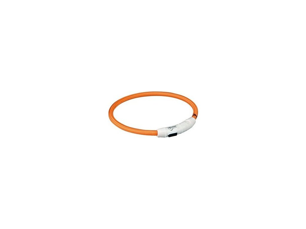 Svítící kroužek USB na krk L-XL 65 cm/7 mm oranžový