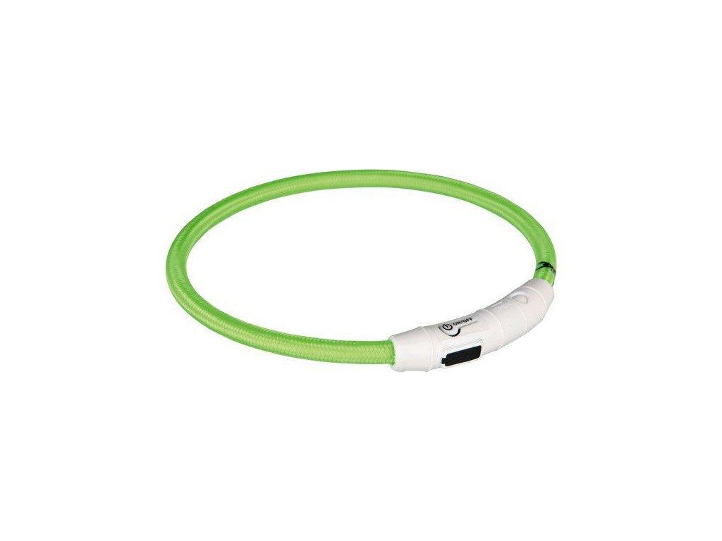 Svítící kroužek USB na krk M-L 45 cm zelená