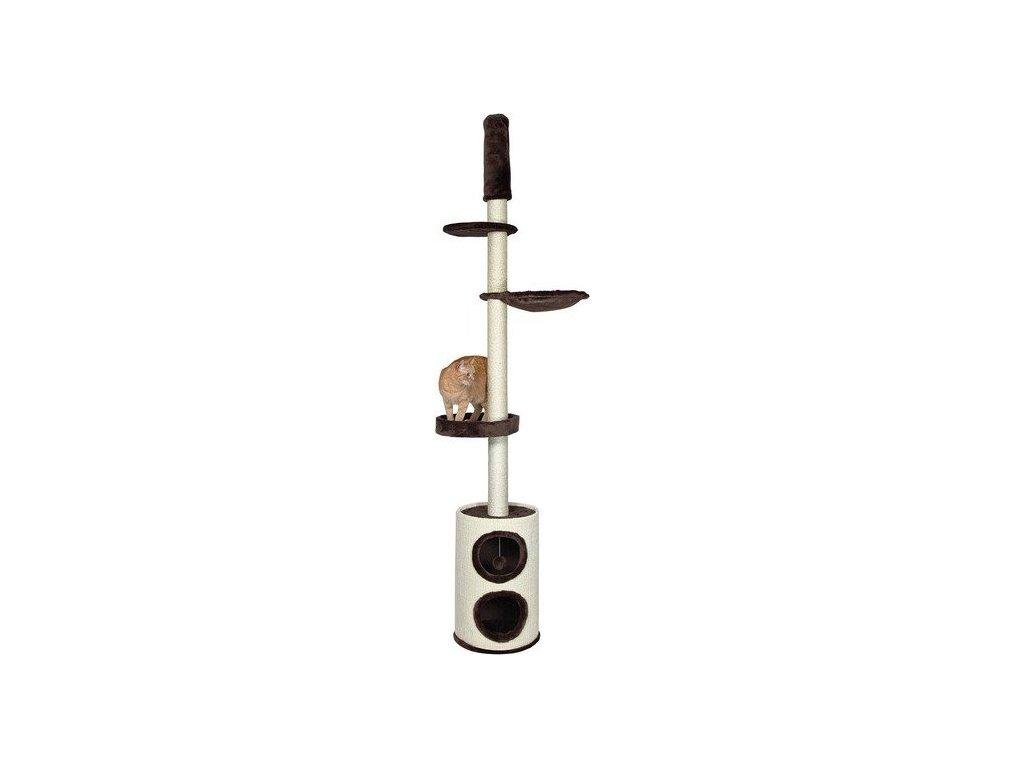 Škrábadlo LINEA s domkem-válec, sisal+hnědý plyš 225-265cm