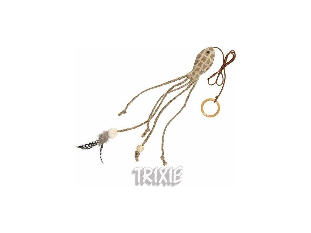 Hnědá rybička s catnipem+ocas s peřím, na gumičce 27cm