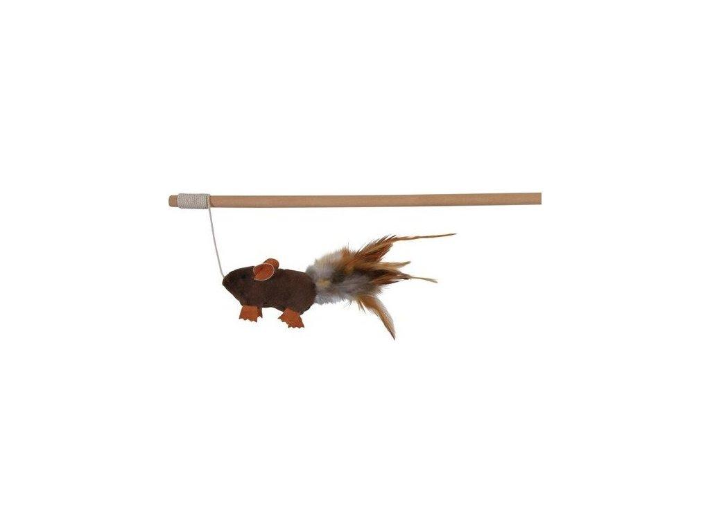 Dřevěná udice s plyšovou myší a peřím 50 cm