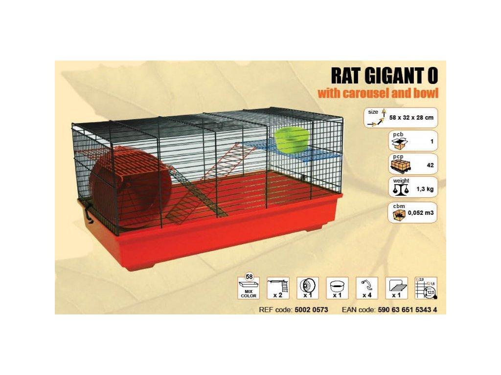 Klec RAT GIGANT I. s plastovou výbavou 580x320x410mm