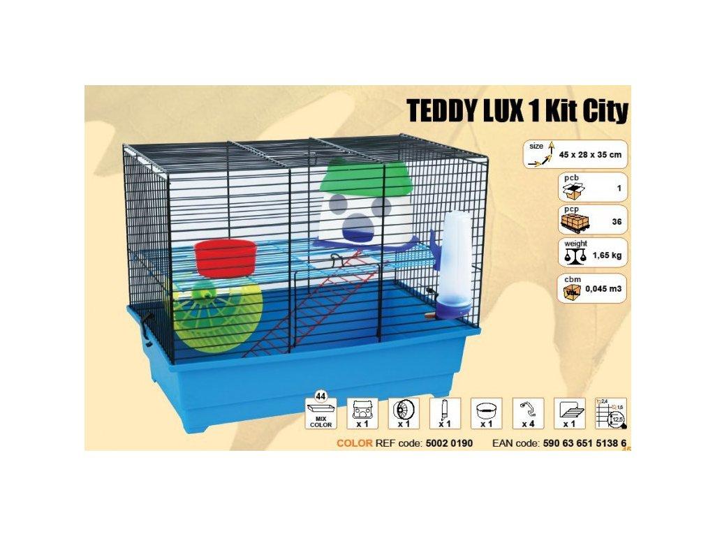 Klec TEDDY LUX I. KIT CITY s plastovou výbavou 450x280x350mm