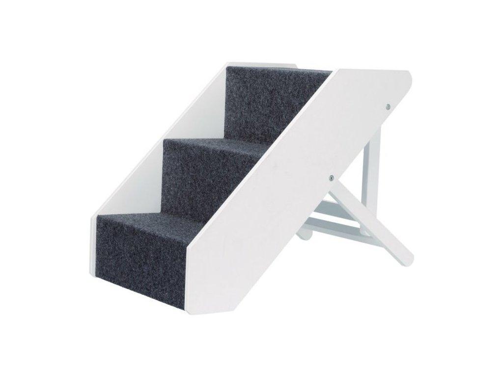 Dřevěné schody s plstěným vzhledem,nastavitelné 40x67cm bílé