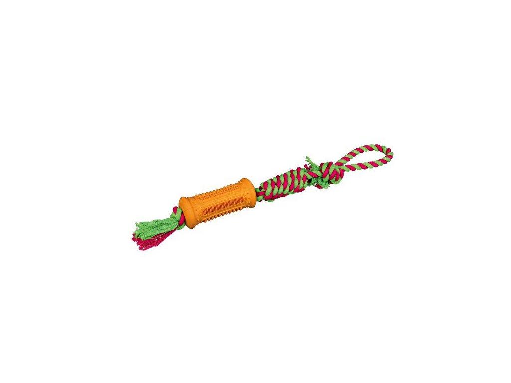 TRIXIE DENTAFun gumový váleček na bavlněném robustním uzlu 7cm/51cm