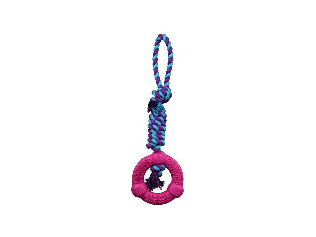 TRIXIE DENTAFun gumový kroužek na bavlněném robustním uzlu12cm/41cm