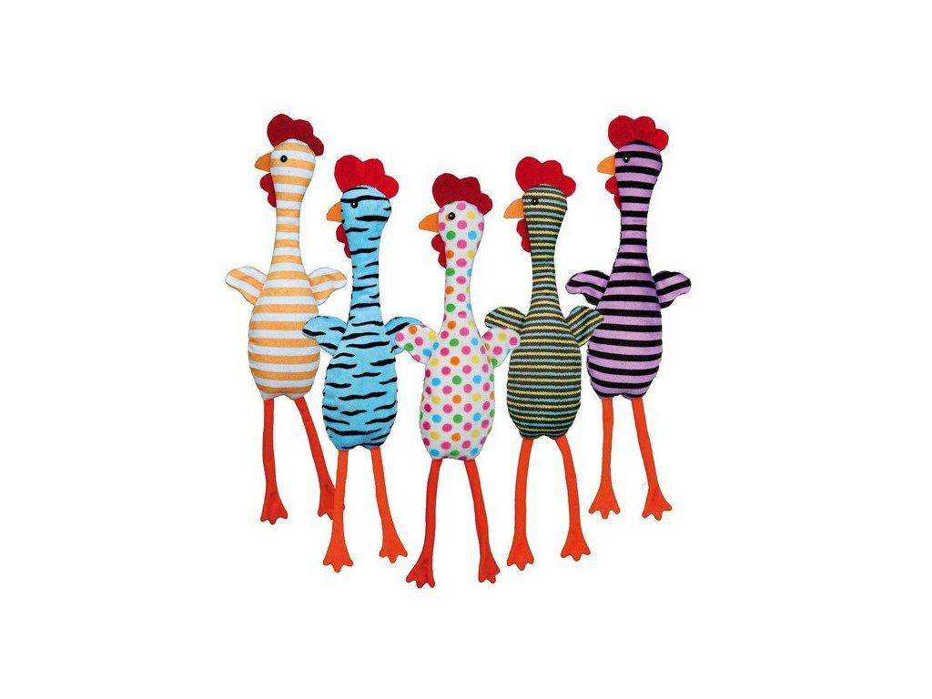 Trixie Plyšové kuře se zvukem, různé barvy a motivy, 48 cm
