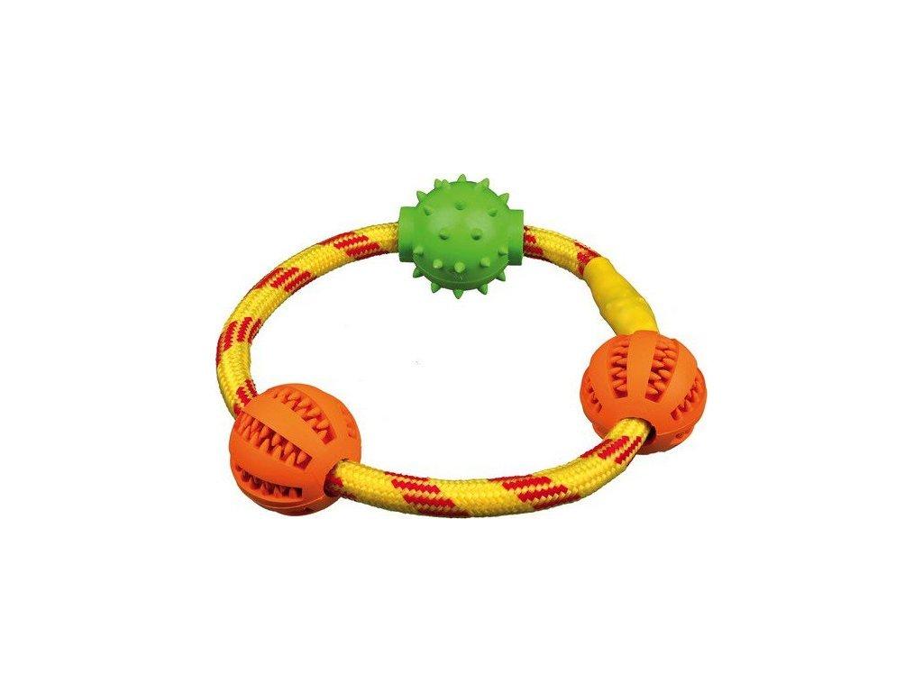 DENTAfun kroužek z lana se 3 míčky tvr.guma 20 cm TRIXIE
