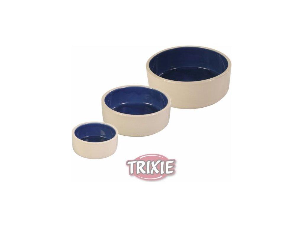 Keramická miska střední 1l/18cm - bílá/modrá